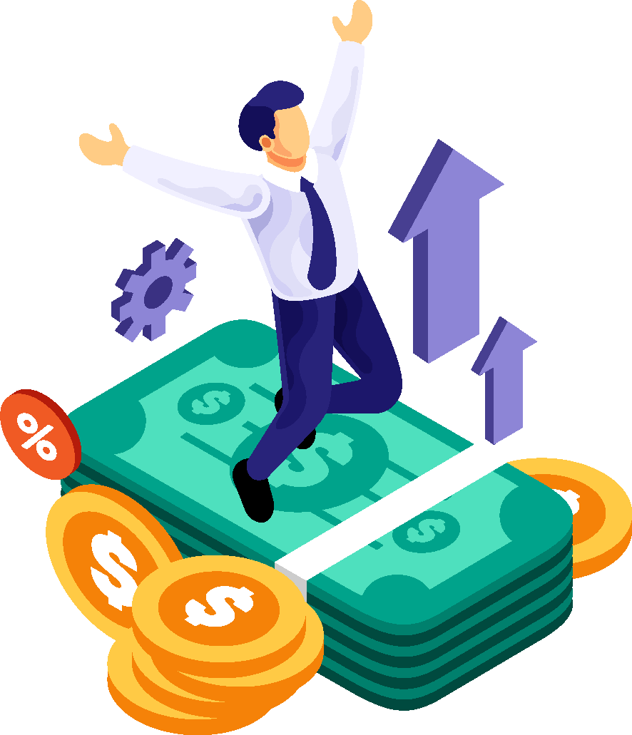 Illustration of a businessman jumping on a pile of cash and coins.