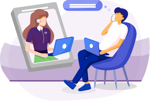 Illustration of a man in a chair chatting with a woman on a laptop.