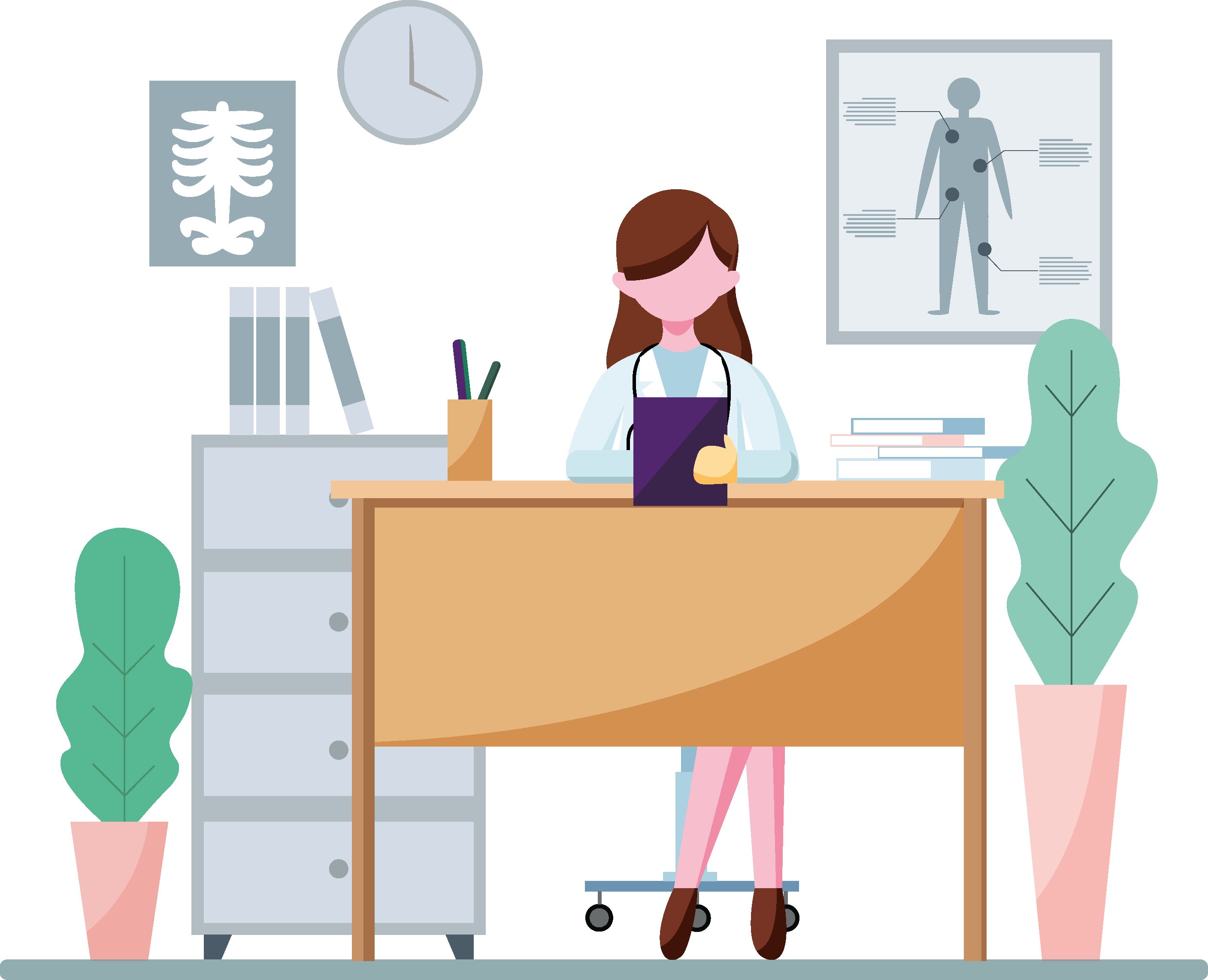 Illustration of a woman in a medical practice sitting behind a desk.