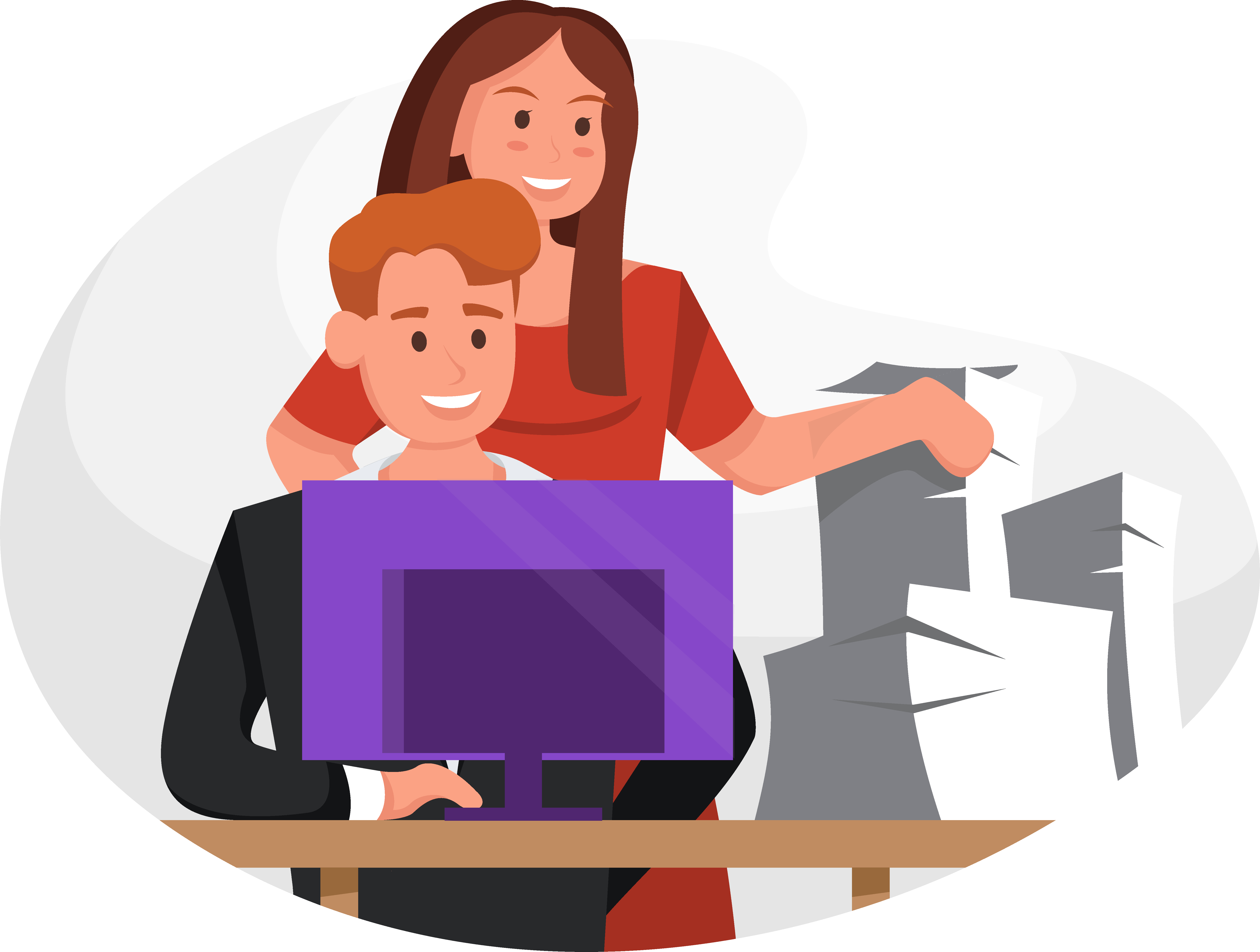 Illustration of a woman standing behind a man at the computer next to a pile of papers.
